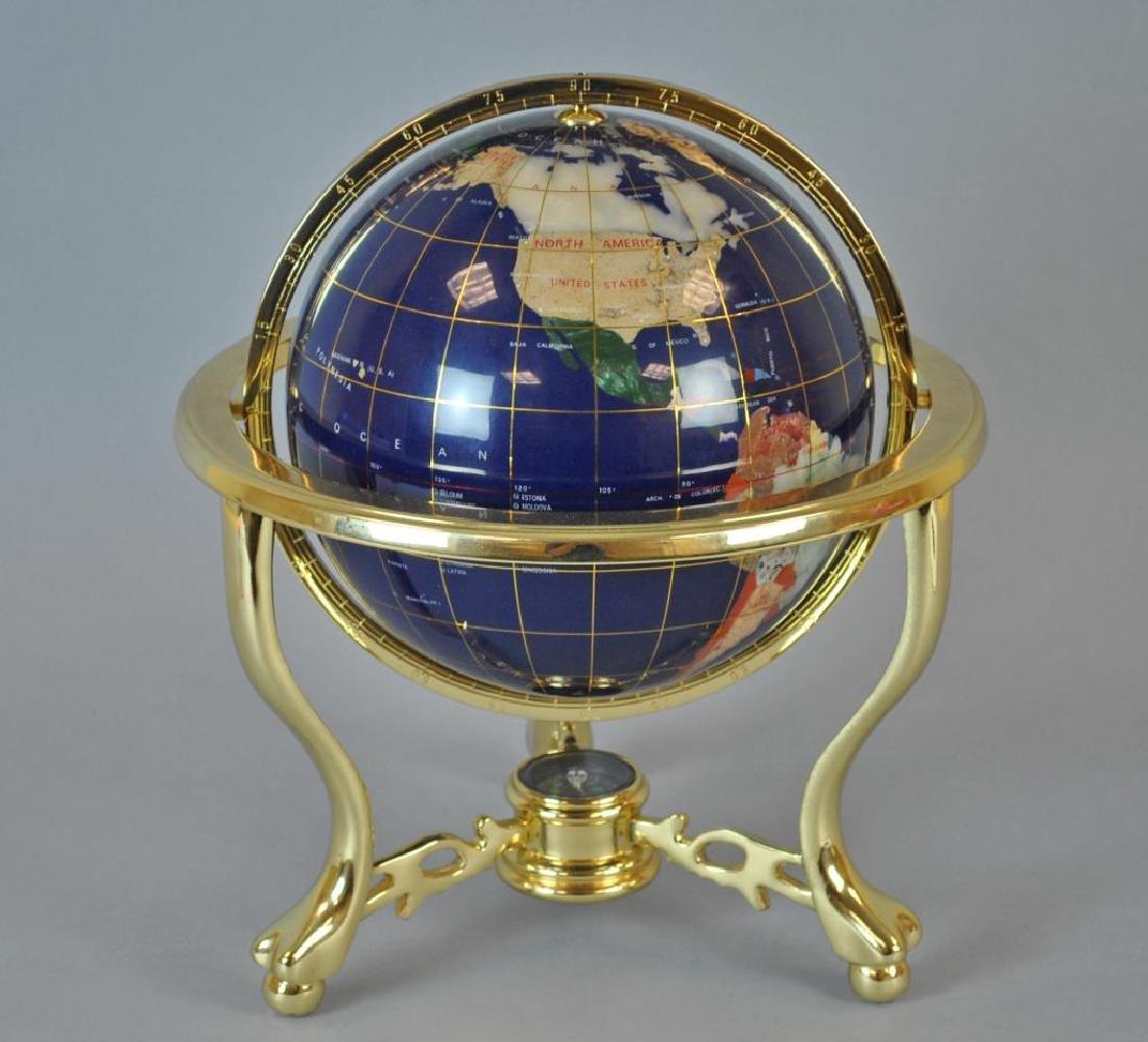 LAPIS & GEMSTONE INLAID TABLETOP TERRESTRIAL GLOBE