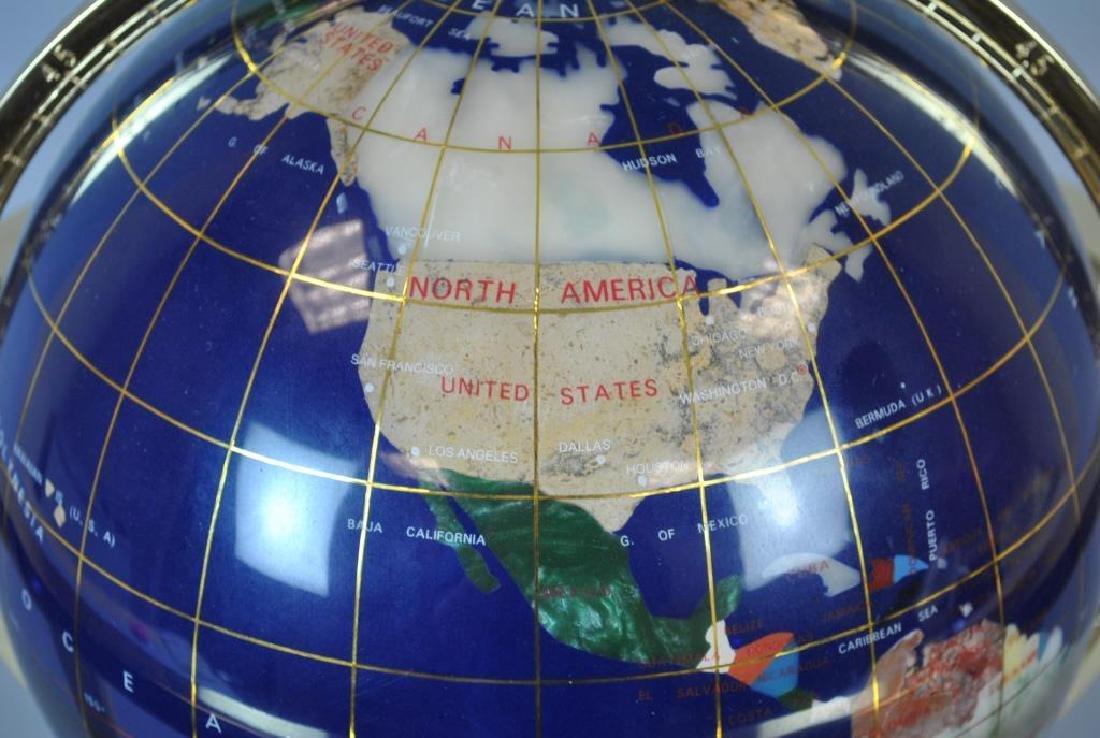 LAPIS & GEMSTONE INLAID TABLETOP TERRESTRIAL GLOBE - 2
