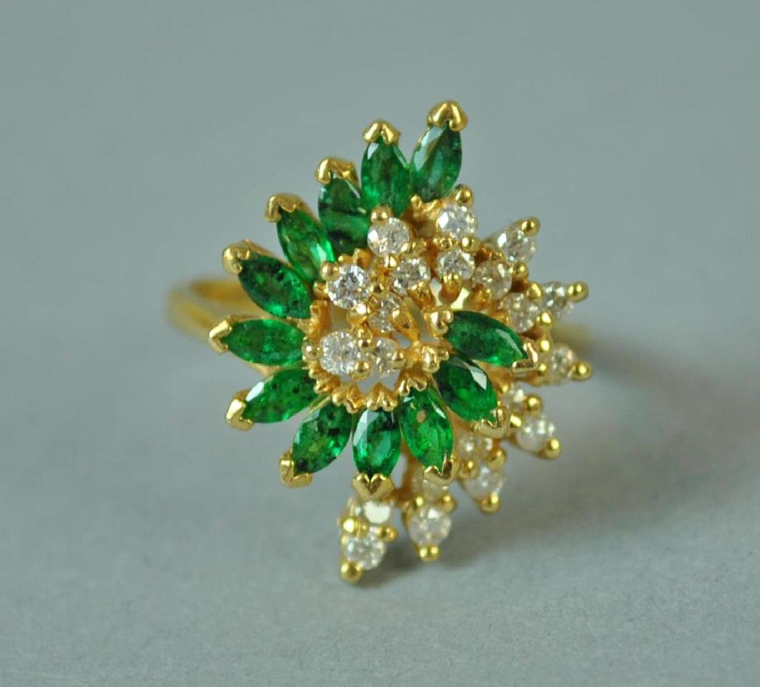 EMERALD & DIAMOND SCROLL RING