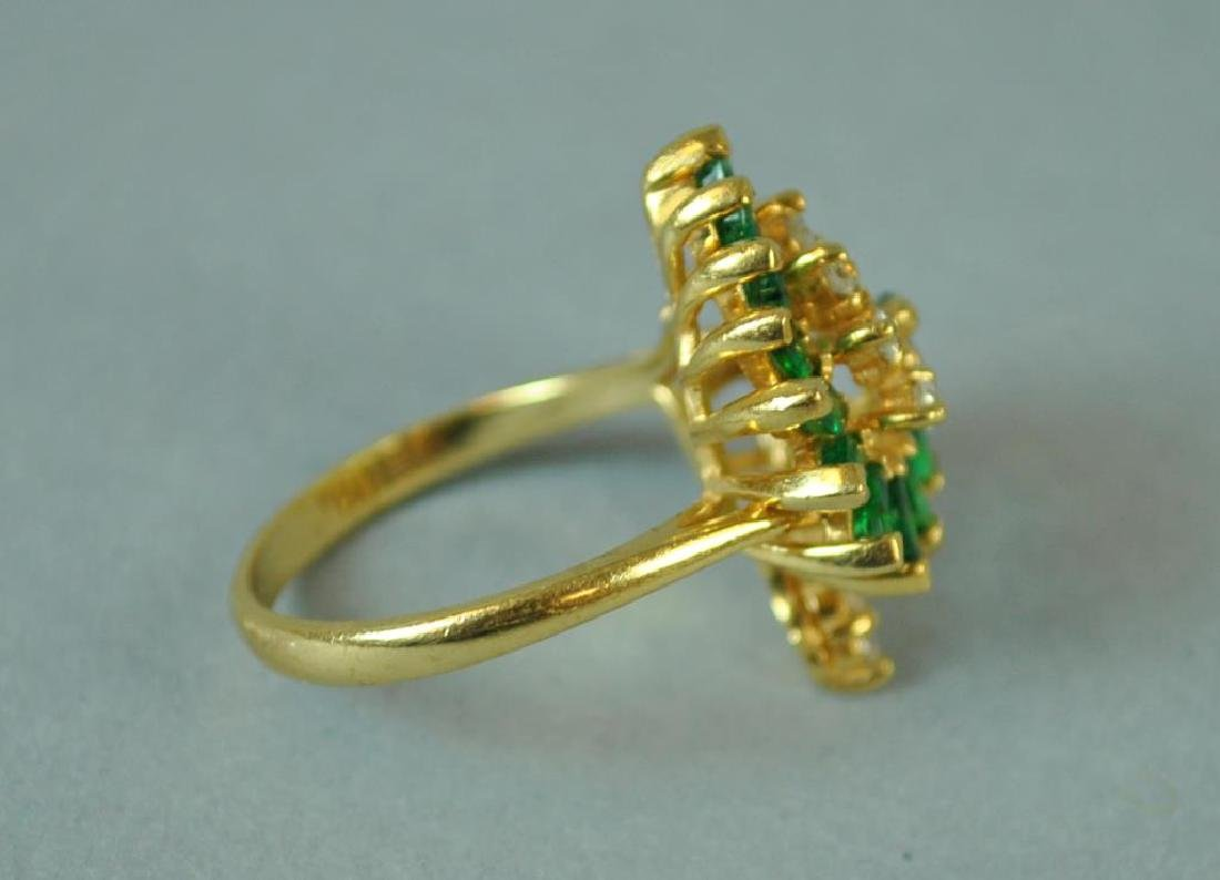 EMERALD & DIAMOND SCROLL RING - 2