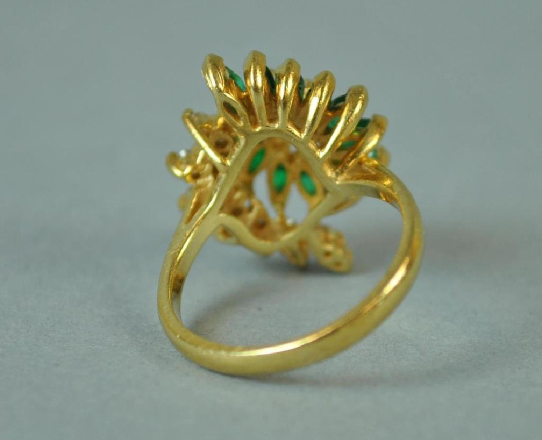EMERALD & DIAMOND SCROLL RING - 3