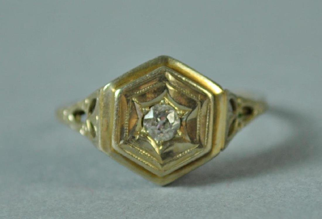 ART DECO DIAMOND RING, 0.10CT - 3