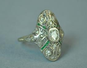 18K & PLATINUM DECO DIAMOND RING