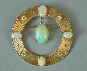 GOLD & OPAL CIRCULAR PIN