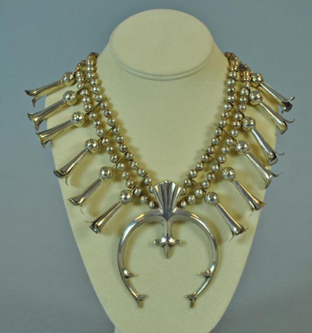SILVER SQUASH BLOSSOM NECKLACE