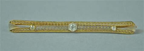 GOLD  PLATINUM DIAMOND BAR PIN