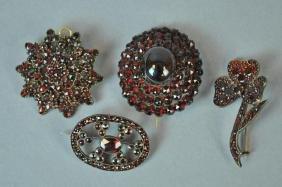 (4) VINTAGE GARNET PINS