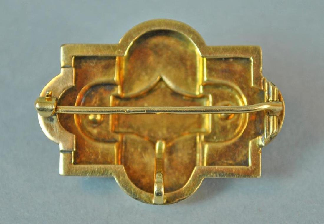 ENAMELED GOLD & SEED PEARL BROOCH PENDANT - 2