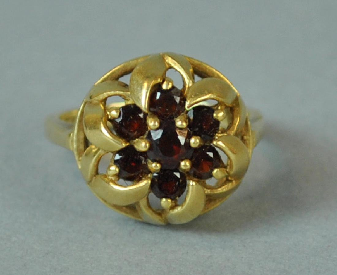 GOLD & GARNET FANCY RING - 2