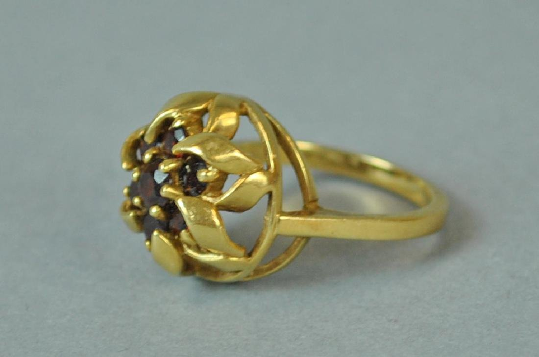 GOLD & GARNET FANCY RING - 3