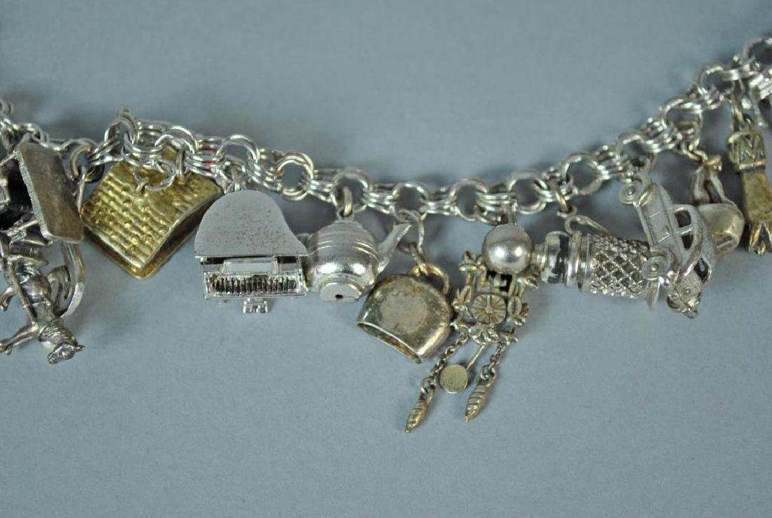 STERLING CHARM BRACELET WITH 17 SILVER CHARMS - 3
