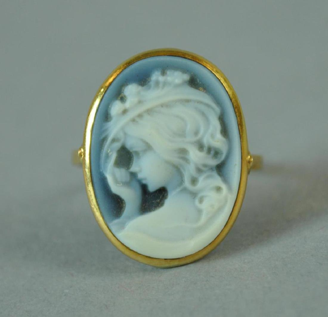 BLUE CHALCEDONY CAMEO RING