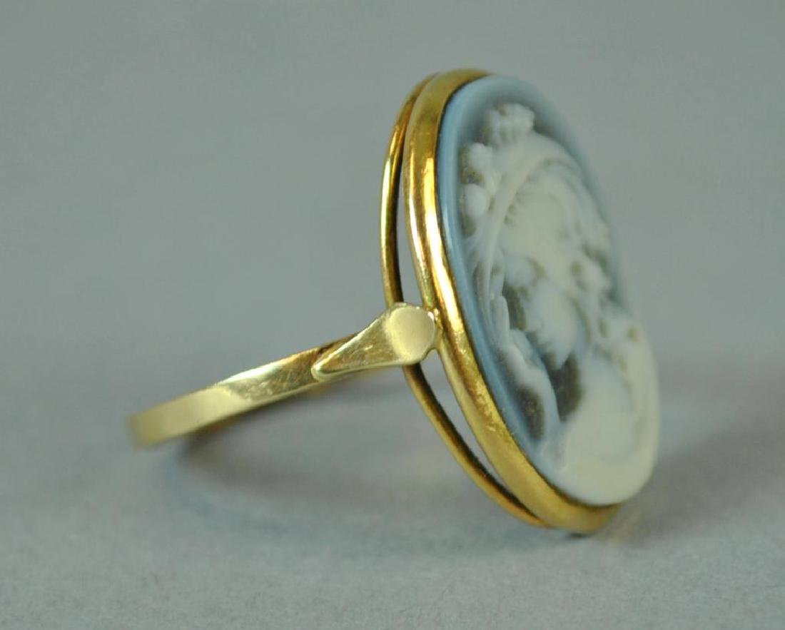BLUE CHALCEDONY CAMEO RING - 2