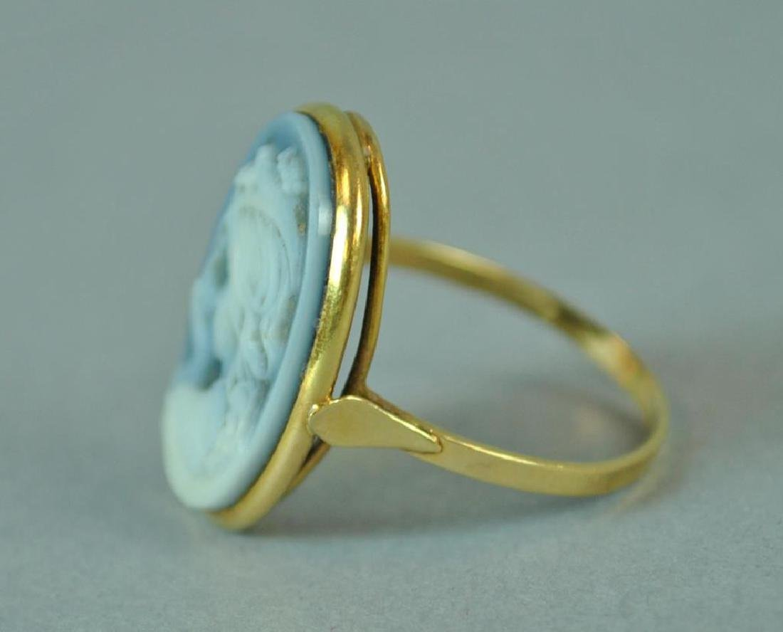BLUE CHALCEDONY CAMEO RING - 3