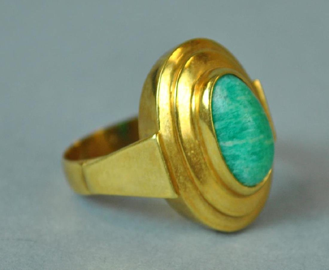 GOLD & GREEN STONE MODERN STYLE RING