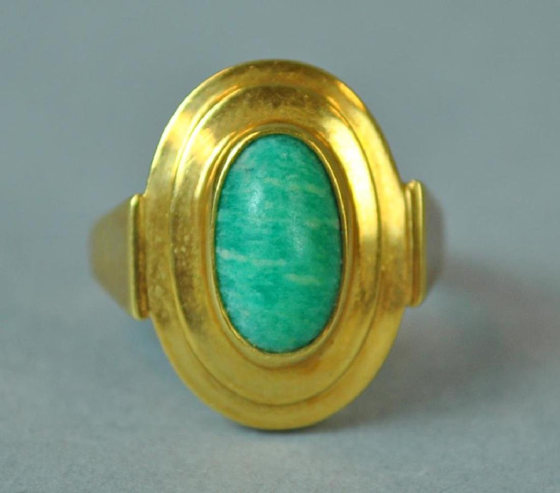 GOLD & GREEN STONE MODERN STYLE RING - 2