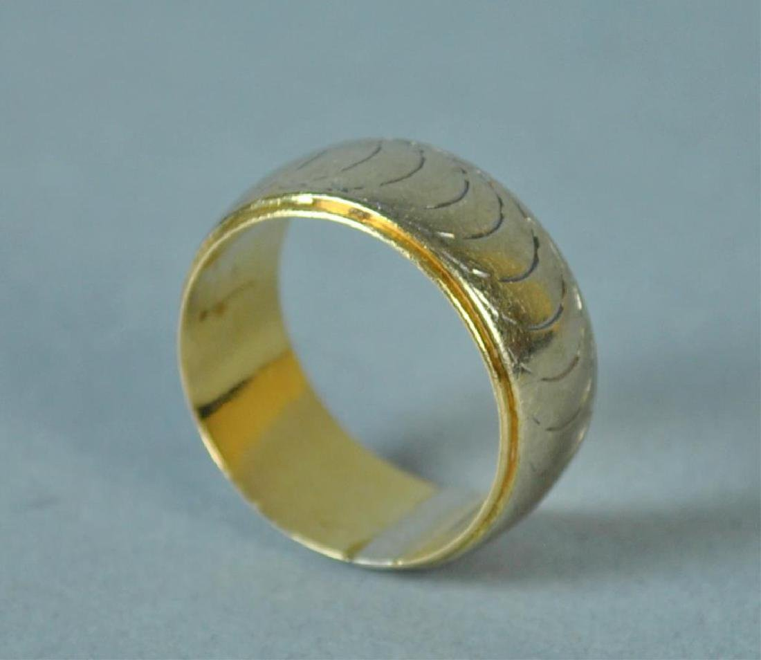 LADIES WIDE GOLD WEDDING BAND - 2