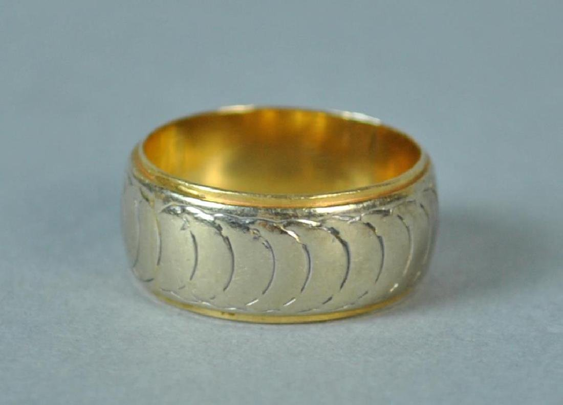 LADIES WIDE GOLD WEDDING BAND - 3