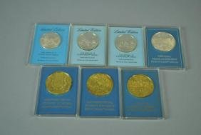 (7) FRANKLIN MINT STERLING EYEWITNESS MEDALS