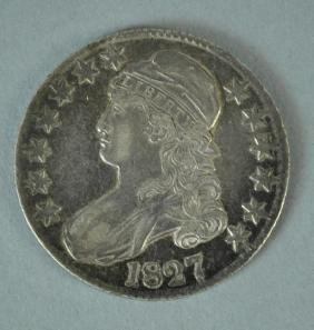 1827 CAPPED BUST SILVER US HALF DOLLAR COIN
