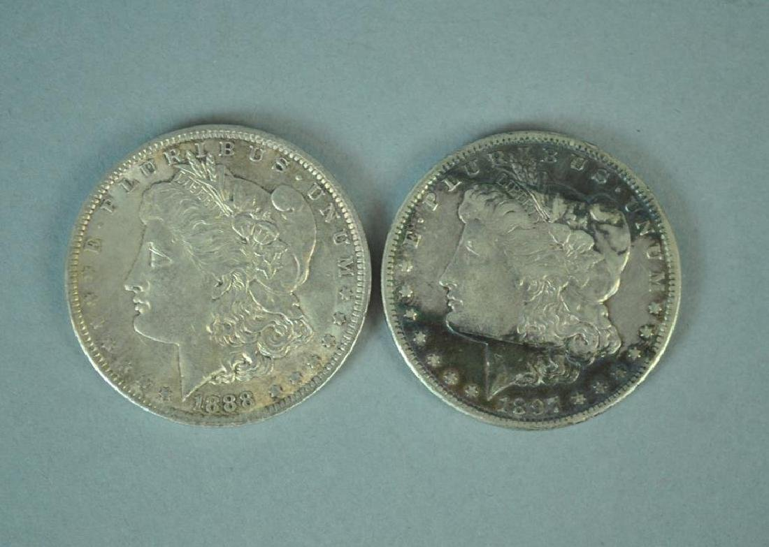 (2) MORGAN US SILVER DOLLAR COINS