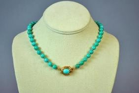 TURQUOISE BEADED CHOKER WITH 18K CLASP