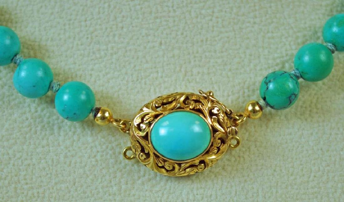 TURQUOISE BEADED CHOKER WITH 18K CLASP - 2