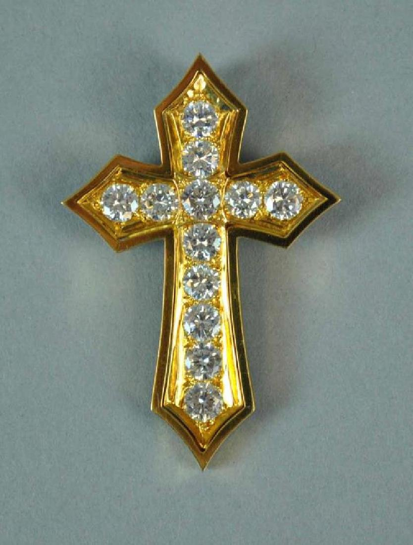 18K DIAMOND CROSS PENDANT, 4.30CTW