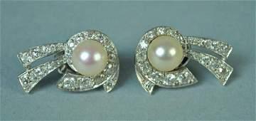PAIR PLATINUM PEARL  DIAMOND EARRINGS 200CTW