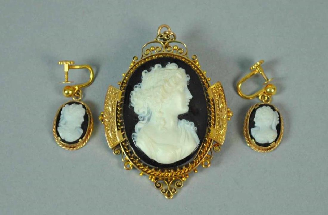 GOLD & ONYX CAMEO BROOCH & EARRINGS