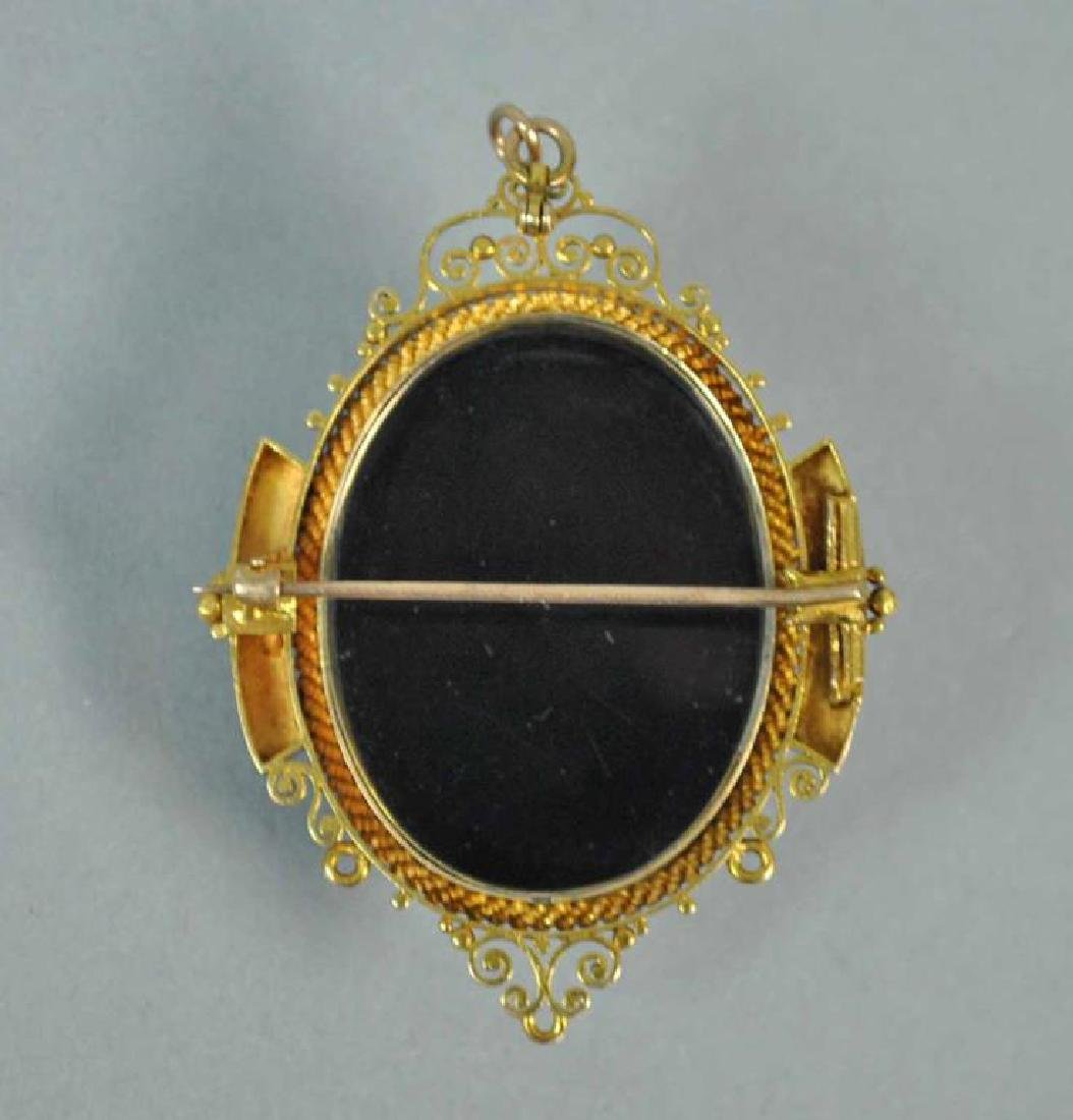 GOLD & ONYX CAMEO BROOCH & EARRINGS - 2