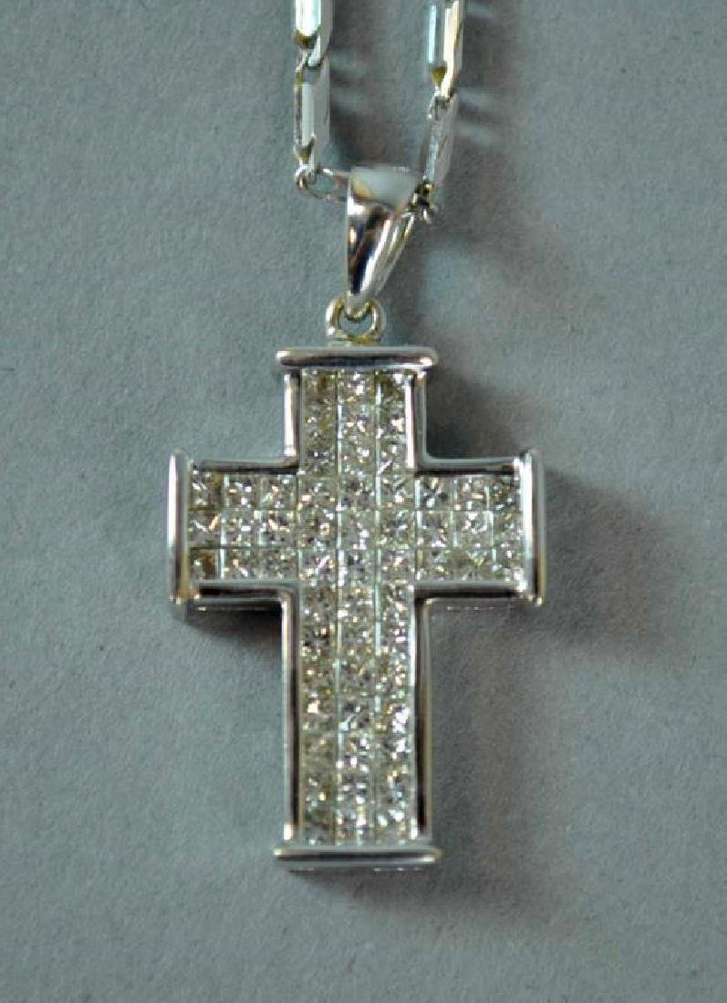 18K DIAMOND CROSS PENDANT WITH 14K NECKCHAIN