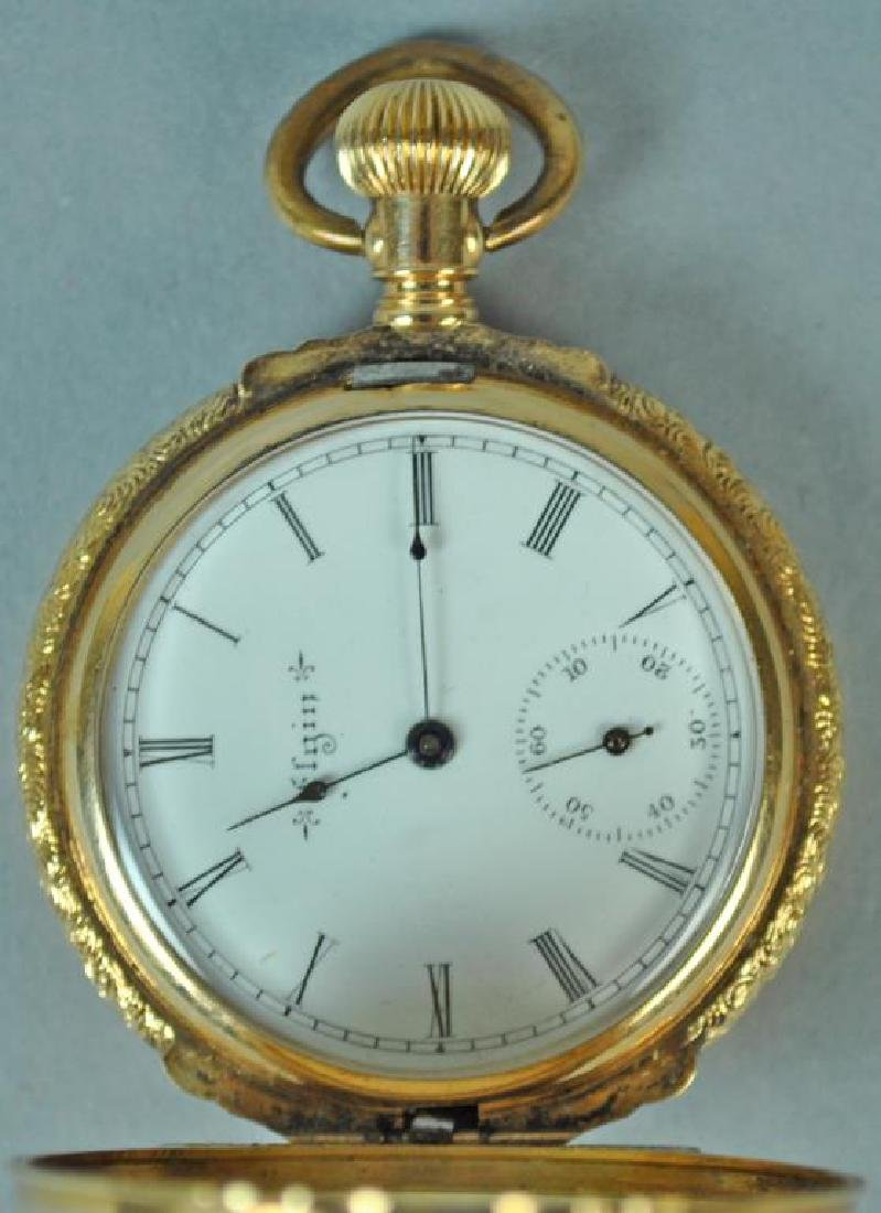 LADIES 14K ELGIN HUNTER CASE POCKET WATCH