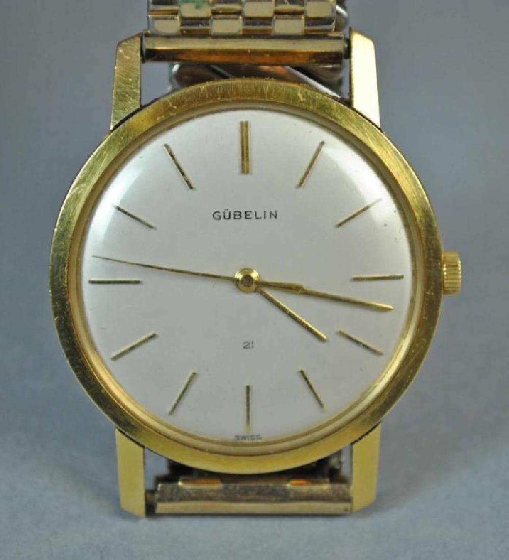 GENTS GUBELIN 18K GOLD CASE WATCH