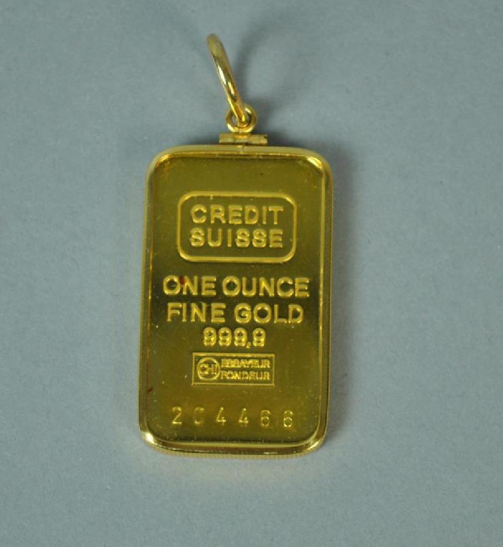 ONE-OUNCE CREDIT SUISSE GOLD INGOT PENDANT