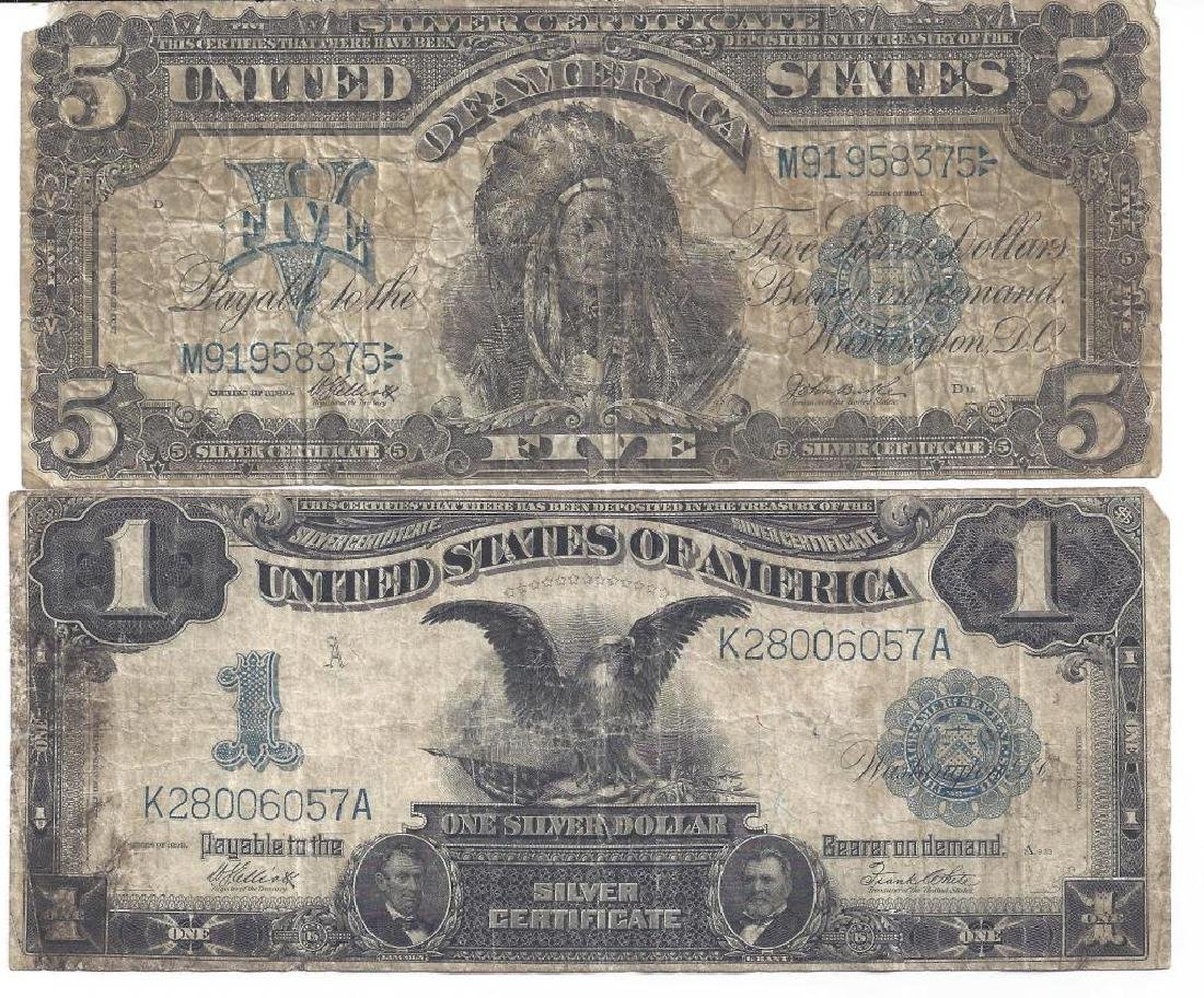 (4) PIECE GROUP OF LARGE NOTE SILVER CERTIFICATES