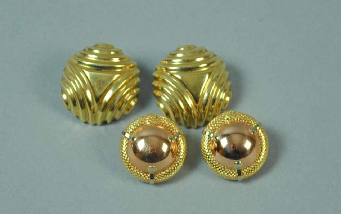 (2) PAIRS OF GOLD EARCLIPS