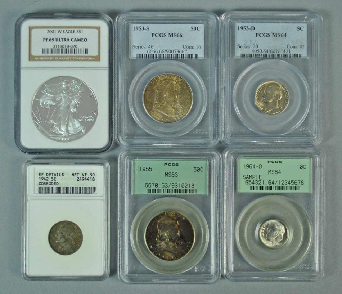 (6) GRADED AND SLABBED US COINS