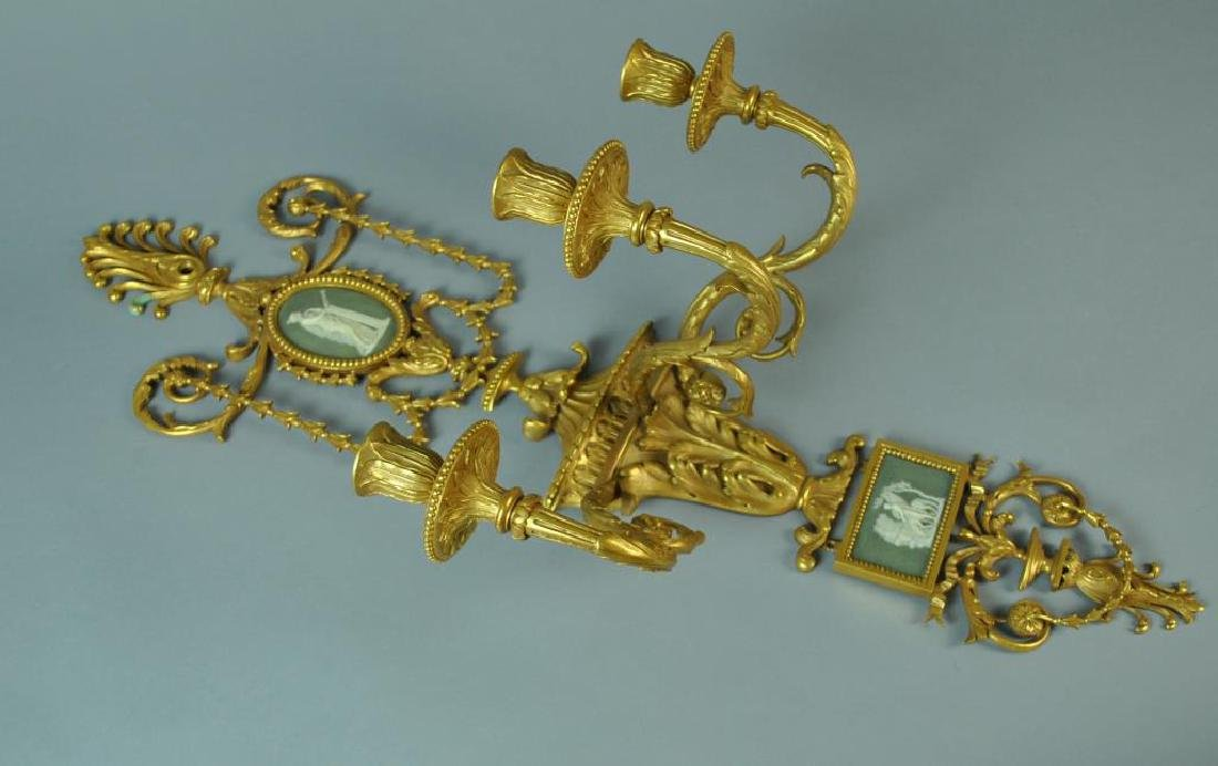 NEOCLASSICAL STYLE GILT BRONZE WALL SCONCE