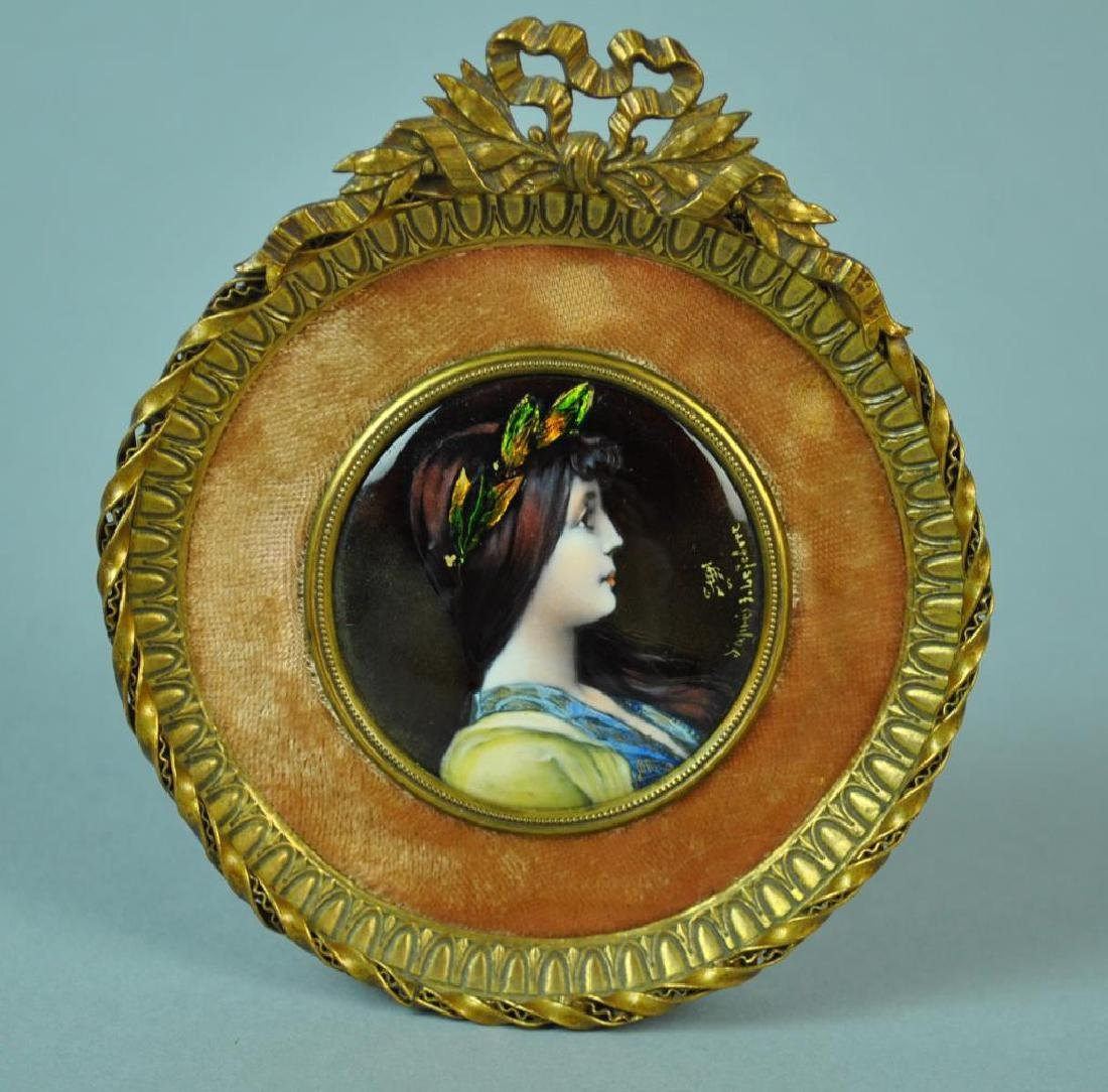 FRENCH ENAMEL ON COPPER PORTRAIT MINIATURE