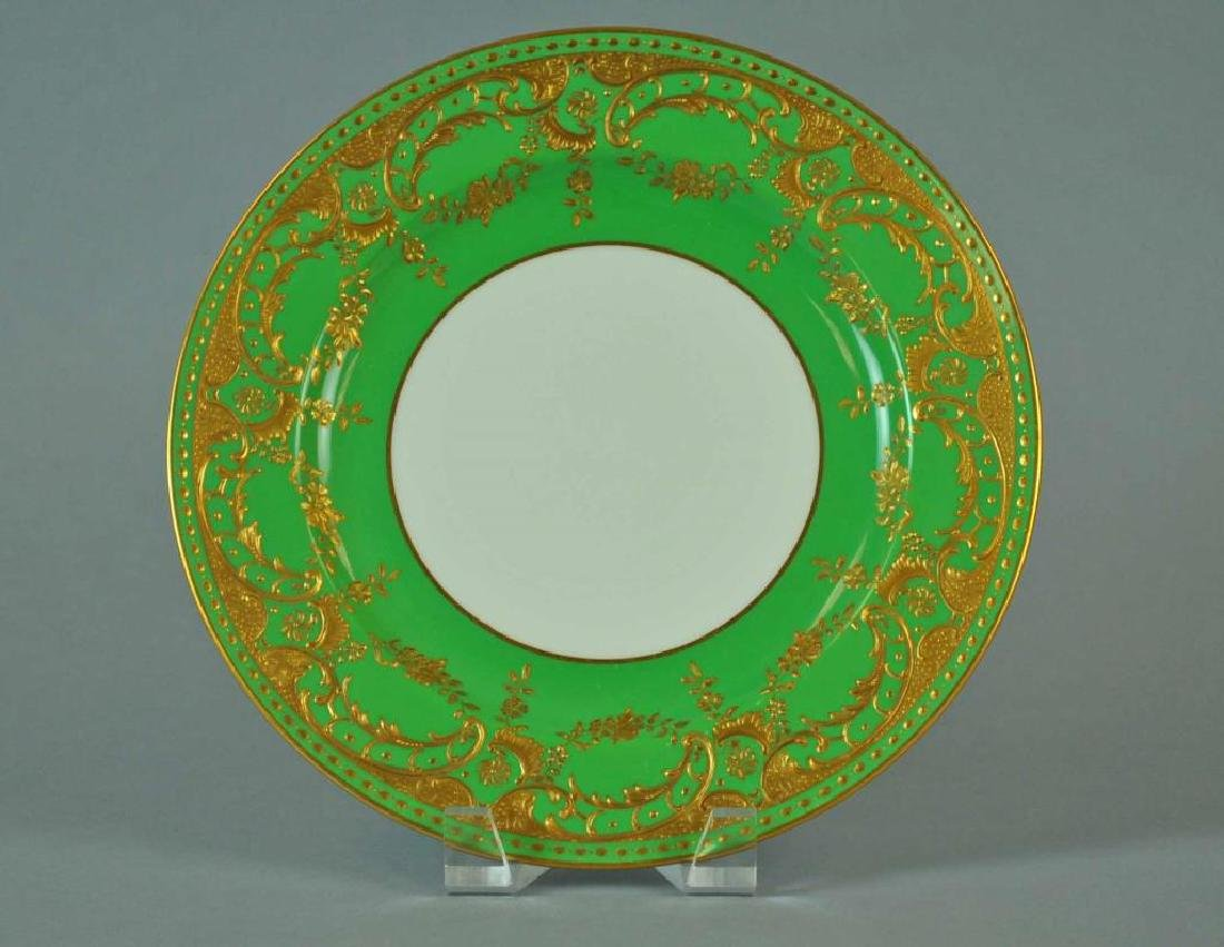 (6) MINTONS GREEN & GILT CABINET PLATES