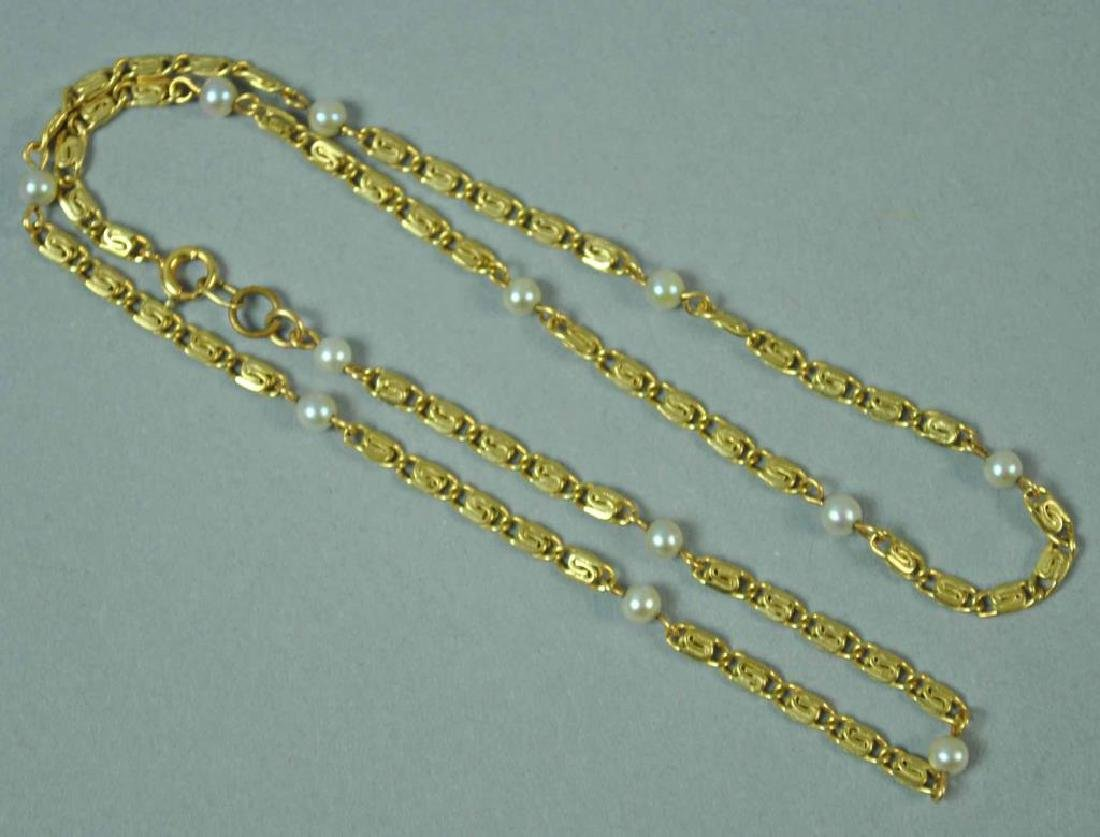 GOLD & SEED PEARL FANCY LINK NECKCHAIN