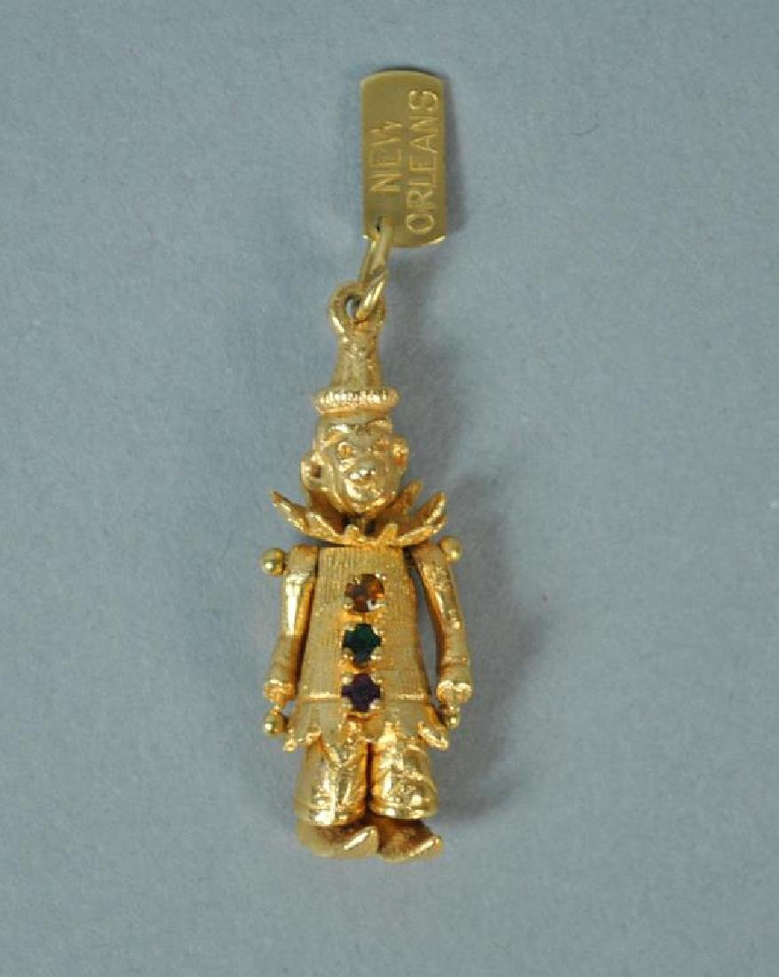 14K ARTICULATED CLOWN CHARM PENDANT