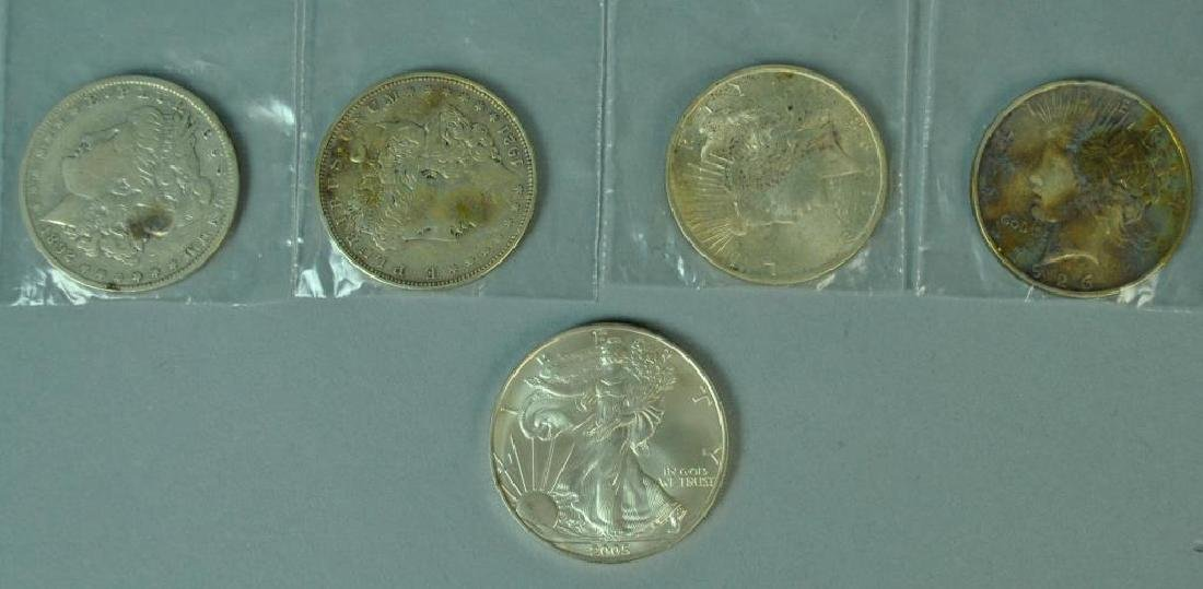 (5) US SILVER DOLLAR COINS