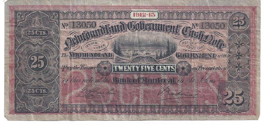 NEWFOUNDLAND GOV'T 25 CENT CASH NOTE 1912-1913