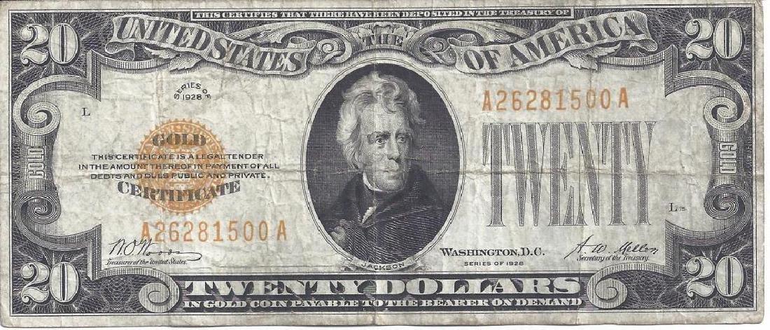 SERIES 1928 $20 GOLD CERTIFICATE