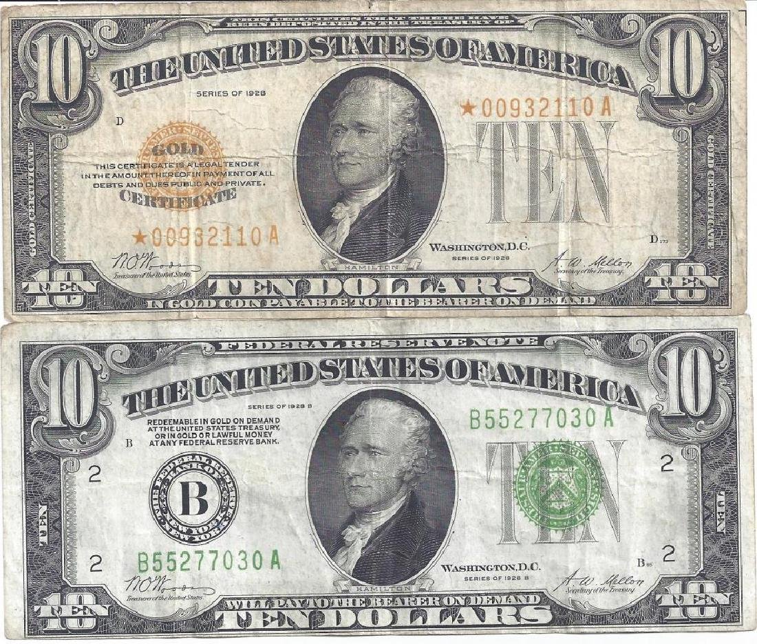 (2) $10 GOLD CERTIFICATES & NOTES