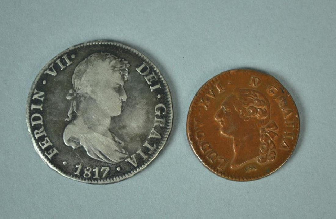 (2) EARLY COLONIAL MEXICAN & FRENCH COINS