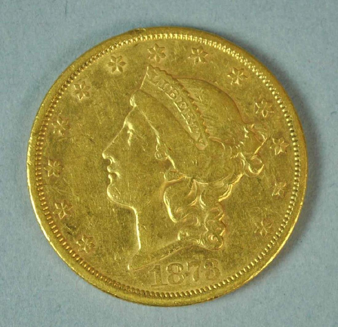1873-S US TWENTY DOLLAR LIBERTY HEAD GOLD COIN