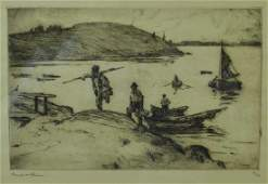 FRANK WESTON BENSON ETCHING THE LANDING